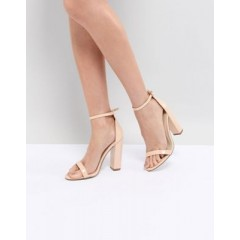 Missguided Block Heeled Barely There Sandal Nude 1273863