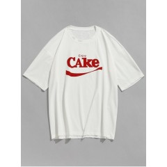 Letters Short Sleeve Casual T-shirt - White S WHITE CasualFashion 272555701