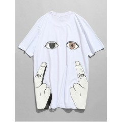 Short Sleeve Finger Eye Print Tee - White L WHITE CasualFashion 264002803