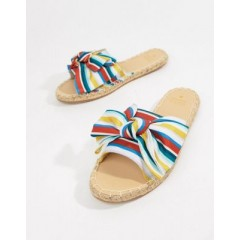Oasis candy striped bow espadrille sliders Multi 1325983