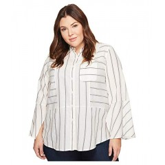 APPBINH TWO by Vince Camuto Plus Size Bell Sleeve Yarn-Dye Stripe Collared Shirt New Ivory 8962424