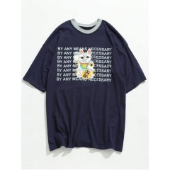Lucky Cat With Letter Printed Tee - Lapis Blue L LAPIS BLUE Casual 266865902
