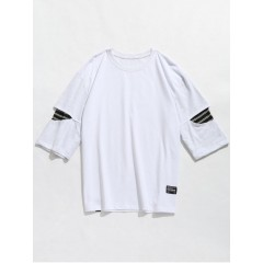 Striped Panel Drop Shoulder Tee - White L WHITE CasualFashion 260490803